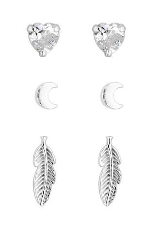 Simply Silver Sterling Silver 925 Leaf Stud Earrings - Pack of 3
