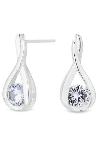 Simply Silver Sterling Silver 925 Cubic Zirconia Solitaire Twist Drop Earrings
