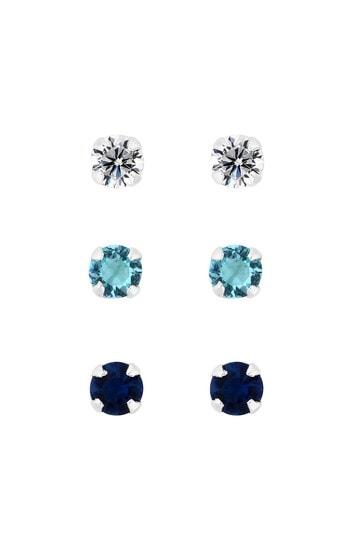 Simply Silver Sterling Silver 925 Blue Tonal Stud Earrings - Pack Of 3