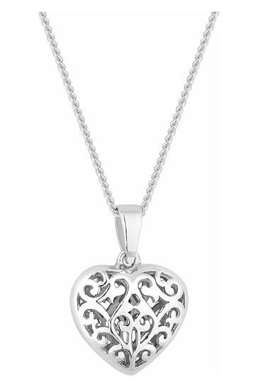 Simply Silver Sterling Silver 925 Mini Filigree Heart Pendant Necklace