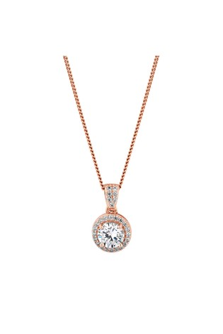 Simply Silver 14ct Rose Gold Plated Sterling Silver White Cubic Zirconia Clara Short Pendant Necklace