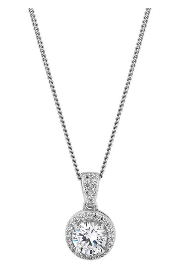 Simply Silver Sterling Silver 925 White Cubic Zirconia Clara Short Pendant Necklace
