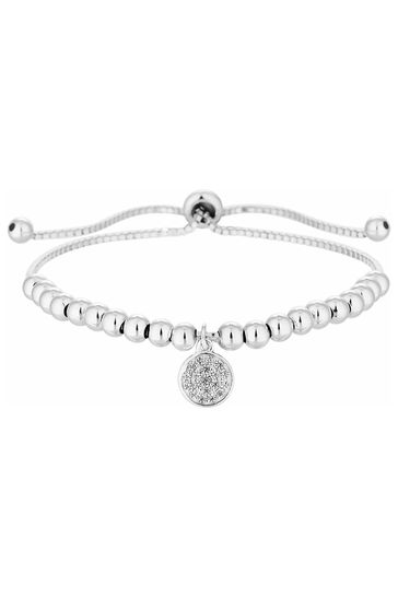 Simply Silver Sterling Silver 925 Pave Disc Charm Beaded Toggle Bracelet