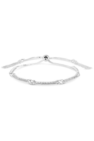 Simply Silver Sterling Silver 925 White Cubic Zirconia And Kiss Toggle Bracelet