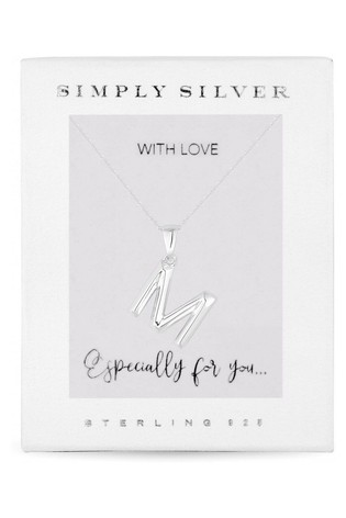 Simply Silver Sterling Silver 925 Polished Alphabet Necklace - Letter M