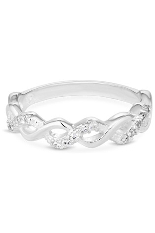 Simply Silver Silver Sterling Silver 925 White Cubic Zirconia Infinity Sized Ring
