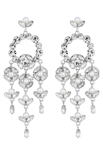Mood Silver Plated Crystal and Pearl Floral Chandelier Drop Earring