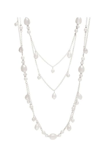 Mood Silver Plated Mix Pearl Multirow Necklace