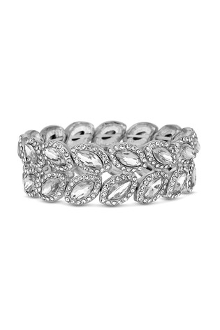Mood Silver Plated Crystal Pave Statement Leaf Stretch Bracelet
