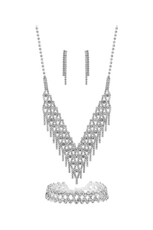 Mood Silver Plated Crystal 3 Piece Shower Matching Jewellery Set