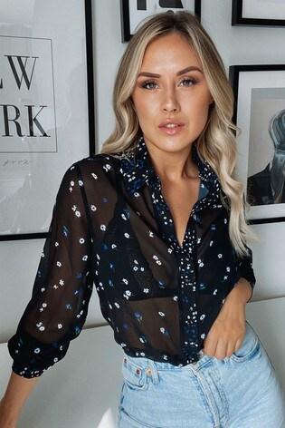 Lipsy Black/Blue Printed Shirt