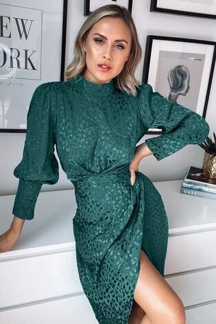 Lipsy Green Wrap Skirt Midi Dress