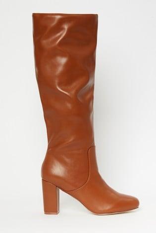 Raid Brown High Leg Slouch Boots