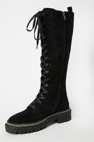 Raid Black High Leg Lace Up Boots