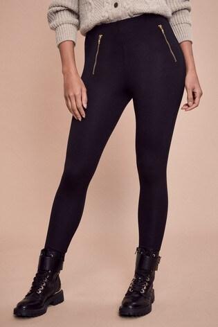 Lipsy Black Zip High Waist Legging