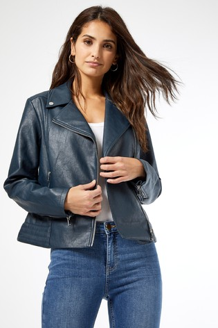Dorothy Perkins Blue PU Biker Jacket
