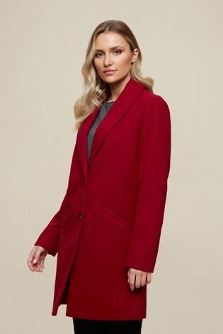 Dorothy Perkins Red Minimal Shawl Collar Crombie Coat