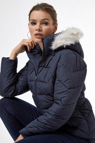 Dorothy Perkins Short Length Faux Fur Hooded Padded Coat