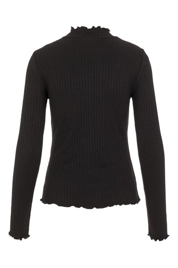 Noisy May Black Ribbed Frill Neck Long Sleeve Top