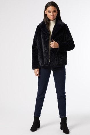 Dorothy Perkins Petite Midnight Wave Short Collar And Revere Coat