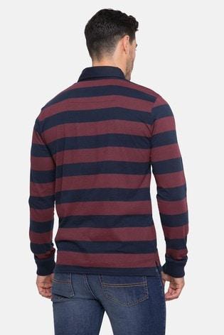 Threadbare Long Sleeve Stripe Rugby Polo Top
