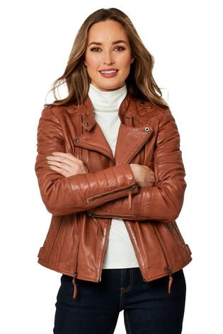 Joe Browns Tan Candid Quilted Leather Jacket