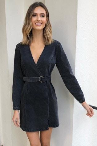 Lipsy Black Washed Denim Wrap Dress