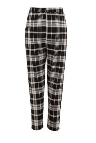 Quiz Black Check Button Detail Trousers