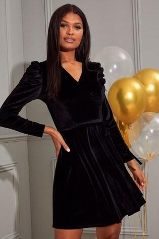 Lipsy Black Puff Sleeve Wrap Dress