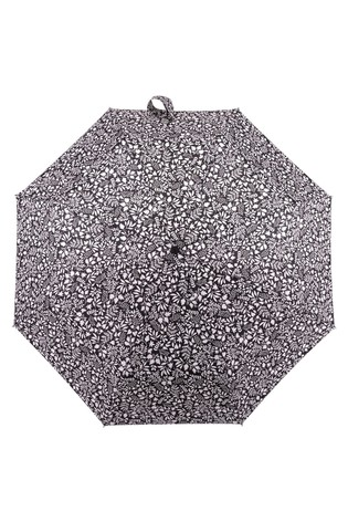 Totes Black & White X-Tra Strong Auto Open/Close Foliage Print Umbrella