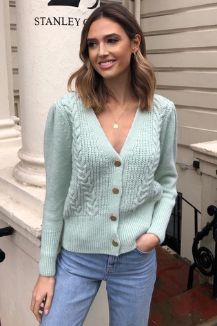 Lipsy Green Button Through Cable Cardigan