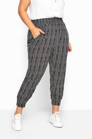 Yours Black Curve Tribal Stripe Crinkle Harem Trousers