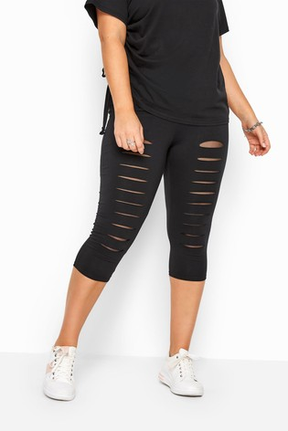 Yours Black Curve Ripped Mesh Insert Cropped Leggings