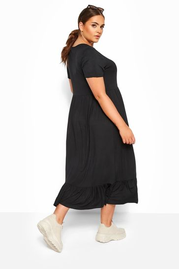 Yours Limited Black Collection Tiered Maxi Smock Dress