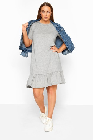Yours Limited Grey Collection Marl Frill Hem Dress