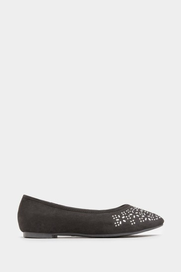 Yours Black Diamante Ballerina Pumps In Extra Wide Fit