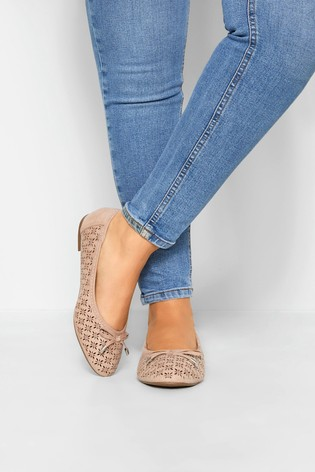 Yours Nude Laser Cut Stud Ballerina Pumps In Extra Wide Fit