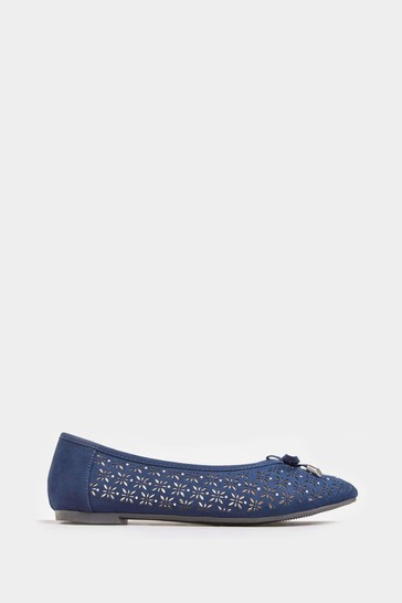 Yours Navy Laser Cut Stud Ballerina Pumps In Extra Wide Fit