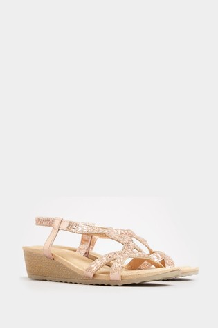 Yours Diamanté Twist Wedge Sandals In Extra Wide Fit