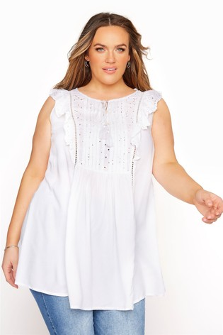 Yours Broderie Frill Top
