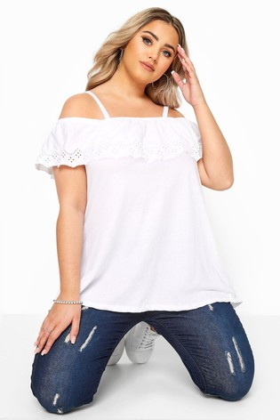 Yours Embroidered Frill Cold Shoulder Top