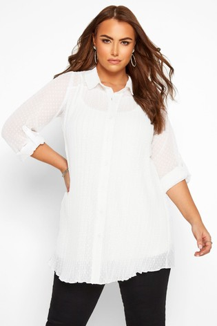 Yours Curve London Dobby Pleated Chiffon Shirt