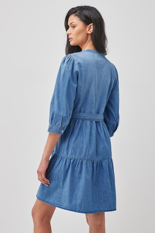 JDY Blue Belted Denim Midi Dress