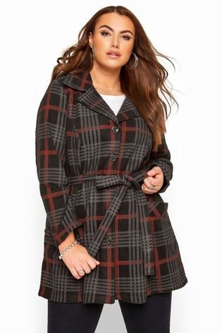 Yours Curve Check Revere Collar Fleece Coat