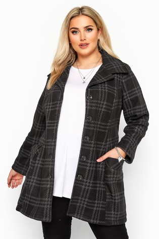Yours Curve Check Revere Collar Fleece Coat