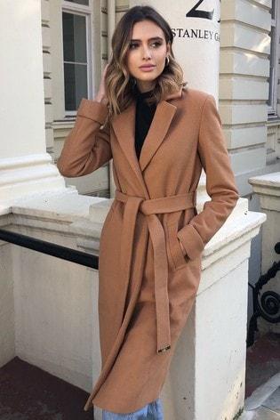 Lipsy Camel Belted Wrap Coat
