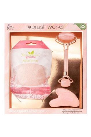 Brush Works Rose Quartz Roller Spa Set