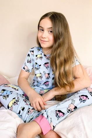 Chelsea Peers Blue Unicorn Panda Print NYC Kids Eco Short Sleeve Printed PJ Set