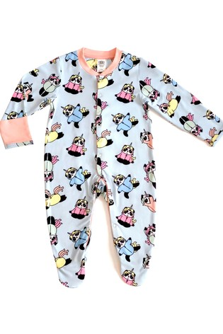 Chelsea Peers Blue Unicorn Panda Print NYC Baby Unicorn Panda Eco Pj Set