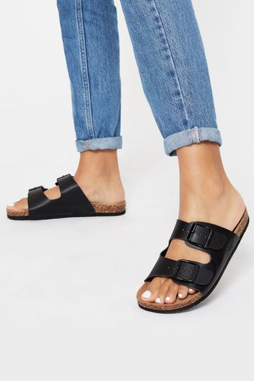 Lipsy Black Buckle Strap Footbed Flat Sandal